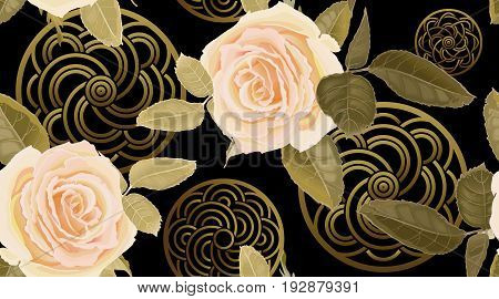 Garden flowers rose. Seamless floral pattern. Vector illustration - template of luxury packaging, textiles, paper. Gold decoration, pink roses on black background. Victorian realistic style. Vintage