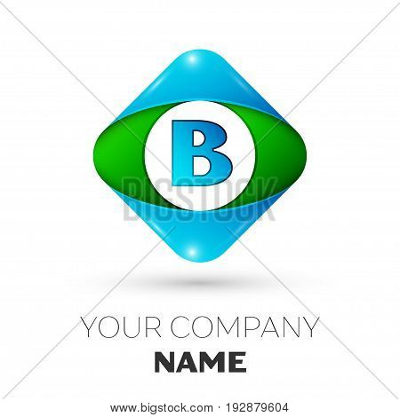 Realistic Letter B vector logo symbol in the colorful rhombus on white background. Vector template for your design