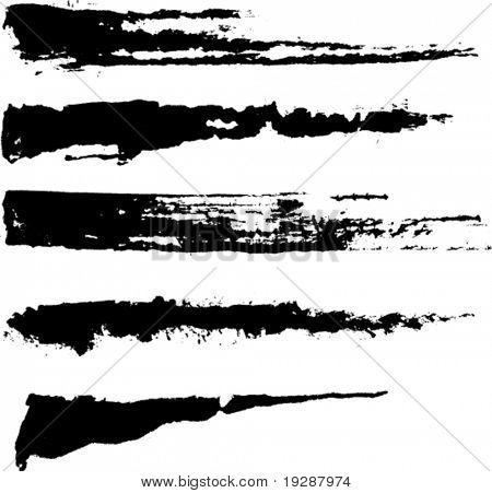 Set of five rough inky brush strokes. Each vector brush stroke on independent layer for easy use and separation.