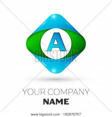 Realistic Letter A vector logo symbol in the colorful rhombus on white background. Vector template for your design