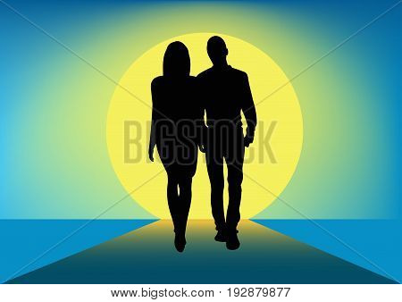 Silhouette of a couple of men and women walking next to each other towards the sun