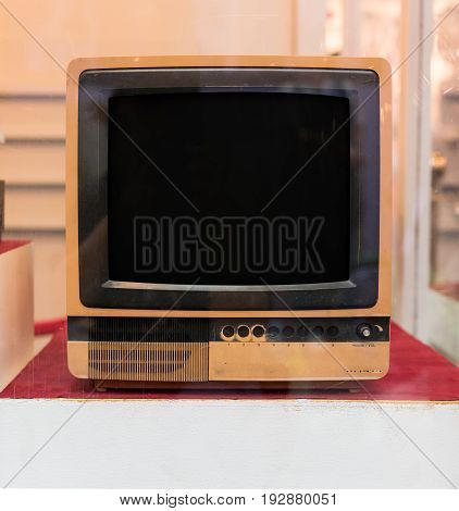 Vintage television. Antique analogue TV screen for display