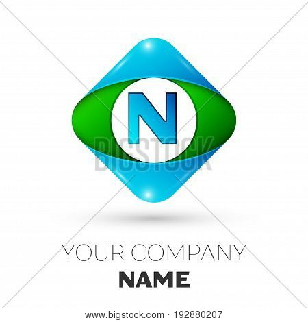 Realistic Letter N vector logo symbol in the colorful rhombus on white background. Vector template for your design