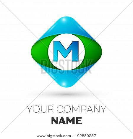 Realistic Letter M vector logo symbol in the colorful rhombus on white background. Vector template for your design