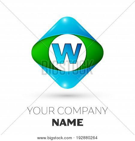 Realistic Letter W vector logo symbol in the colorful rhombus on white background. Vector template for your design