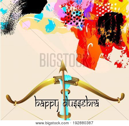 happy dussehra greeting card with krishna bow with arrow and hand lettering inscription on painting brush abstract background, vector illustration