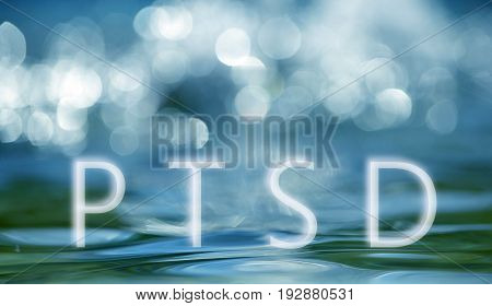 Bokeh Light Background In The Pool With Text Ptsd