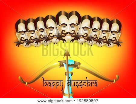 happy dussehra indian holiday poster with face of ravana, shooting bow and arrow and calligraphy inscription on orange background, vector illustration