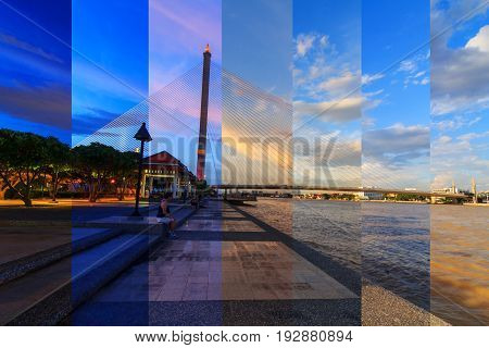 Different shade in different time of big bridge in the park / RAMA VIII bridge in night time