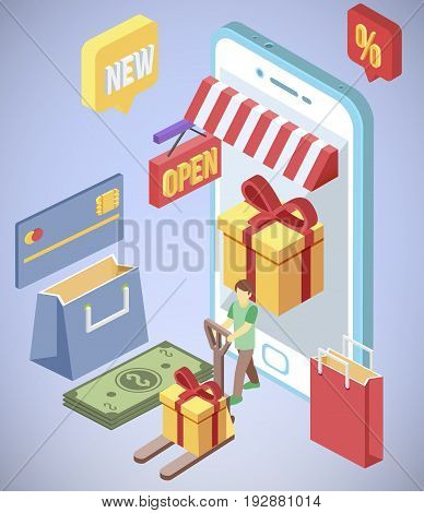 Isometric smartphone shopping e commerce 3d vector concept