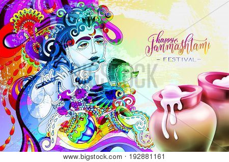 happy janmashtami indian festival design the god Krishna is playing flute, clay pots with spilled sour cream and calligraphy inscription, grunge vector illustration