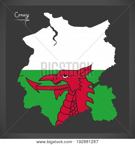 Conwy Wales Map With Welsh National Flag Illustration