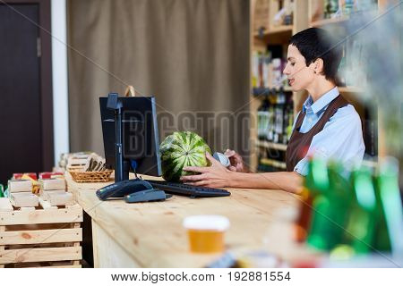 Profile view of concentrated checkout operator in apron scanning barcode of watermelon in small store with organic food, waist-up portrait