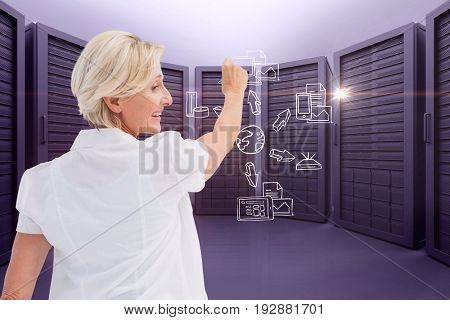 Digital composite of model drawing in server room