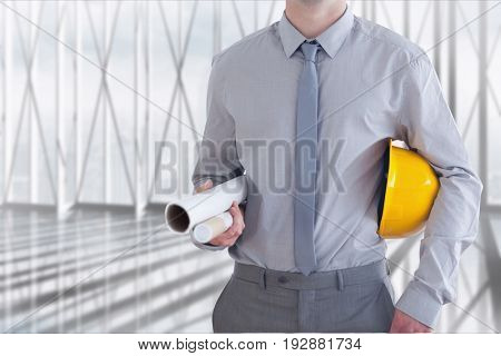 Digital composite of architect torso