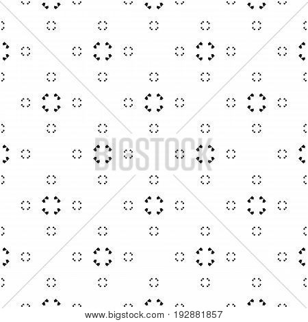 Universal vector seamless pattern. Simple black & white texture. Abstract monochrome minimalist background with tiny geometric shapes. Design pattern, textile pattern, covers pattern, digital pattern, web pattern, decor pattern.