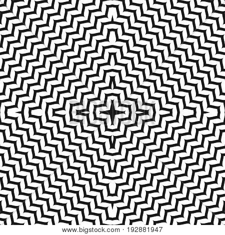 Seamless pattern. Zigzag pattern. Vector geometric texture with concentric lines in square form. Black & white abstract wavy background, dynamical optical illusion. Monochrome design element for prints, decor. Illusion pattern.