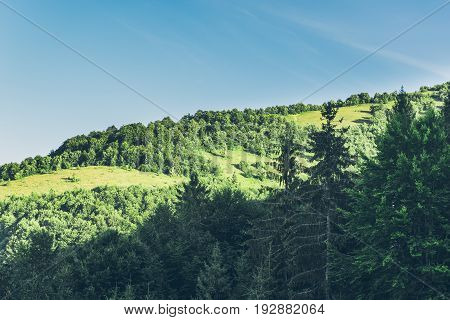 Rocky mountains landscape panoramic view in Carpathian