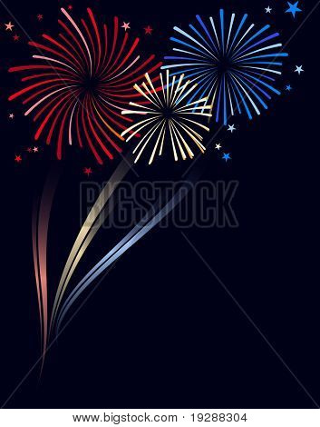 Red white and blue fireworks with explosion and color trails and space for copy