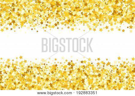 Border with shimmer stars. Gold sparkle. Golden frame of stars. Border. Confetti