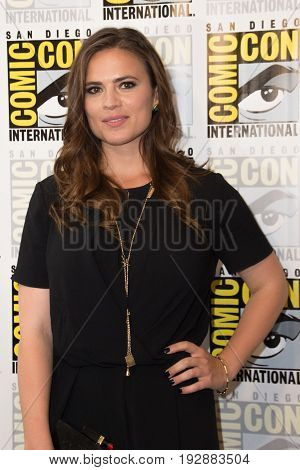 San Diego, CA - July 25, 2014: Hayley Atwell of Marvel's Agent Carter arrives at Comic Con 2014 in San Diego, CA.