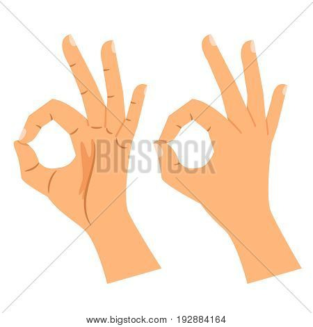 Ok hand sign vector illustration. Okay gesture, agree or perfect symbol isolated on white background