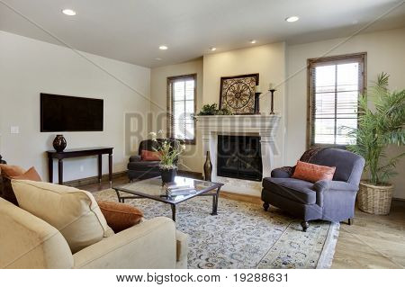 Wide angle of great room / living room
