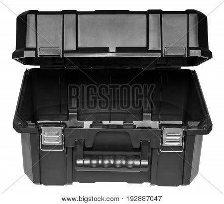 Slightly opened black plastic tool box, isolated on white background.