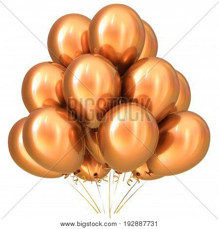 Golden gold party balloons happy birthday decoration yellow glossy sparkling. 3D illustration