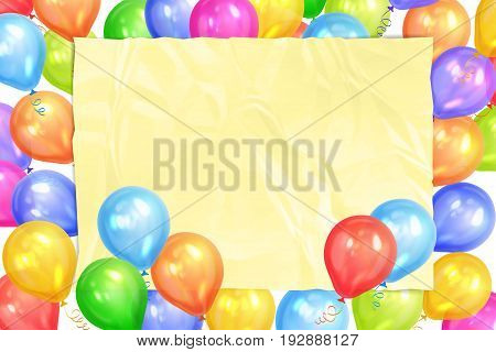 Border of realistic colorful helium balloons and yellow sheet. Party decoration frame for birthday anniversary celebration. Vector illustration
