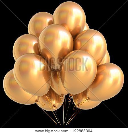 Gold balloons golden birthday party carnival decoration yellow glossy. Happy holiday anniversary celebrate new year's eve xmas. 3D illustration isolated on black
