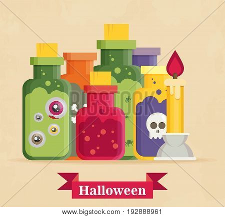 flat icon on background halloween potion bottle