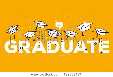 Vector Illustration Of Word Graduation With Graduate Caps On A Yellow Background. Congratulation Gra