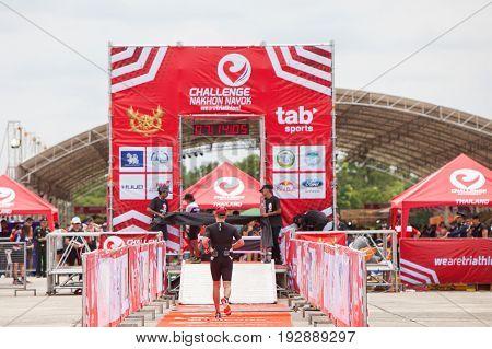 Nakhon nayokThailand - 25 June 2017: Back of finisher run up to finish line in Challenge Nakhon Nayok 2017