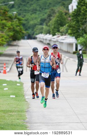Nakhon nayokThailand - 25 June 2017: Triathletes running in Challenge Nakhon Nayok 2017