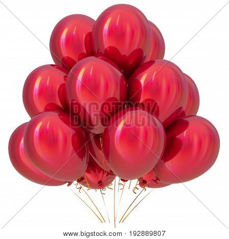Red balloons birthday party carnival decoration scarlet glossy. Happy holiday anniversary celebrate new year's eve xmas christmas 3D illustration isolated