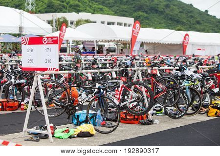 Nakhon nayokThailand - 25 June 2017: Bicycles compound in the place of transition during the triathlon festival in Challenge Nakhon Nayok 2017