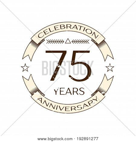 Realistic seventy five years anniversary celebration logo with ring and ribbon on white background. Vector template for your design