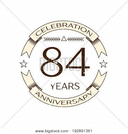 Realistic eighty four years anniversary celebration logo with ring and ribbon on white background. Vector template for your design