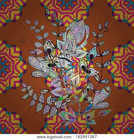 Mandala pattern. Arabic Vintage decorative ornament. Vector Mandala colored on background. Orient symmetry lace meditation symbol. East Islam Thai Indian ottoman motifs. Tribal ethnic texture.