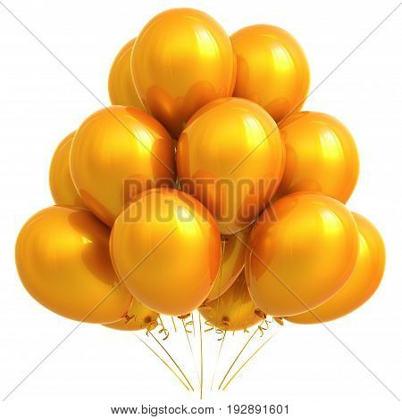 Yellow balloons party happy birthday carnival decoration orange glossy. Holiday anniversary celebrate new year's eve xmas christmas greeting card design element. 3D illustration isolated