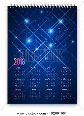 Blue colored futuristic abstract design calendar 2018 template. Week starts from sunday. Vector realistic spiral notepad notebook