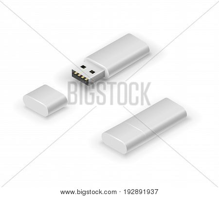 USB black colored stick flash pen drive. Vector illustration in 3D looks isometry