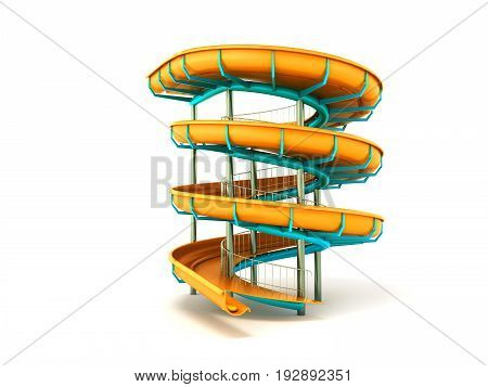 Aqua Park Yellow Blue 3D Rendering On White Background