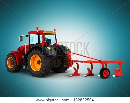 Tractor Plowing Red 3D Render On Blue Background