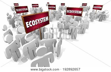 Ecosystem People Customers Around Signs Business 3d Illustration