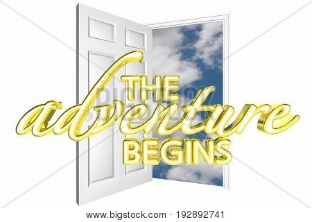 The Adventure Begins Door Opening Start Journey 3d Illustration