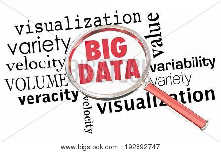 Big Data Volume Variety Velocity Magnifying Glass Words 3d Illustration
