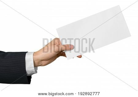 Card hand blank white paper space isolated