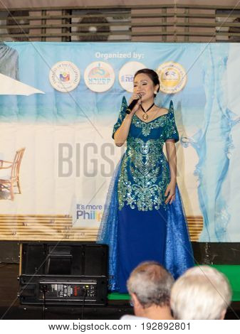 Nahariya Israel June 11 2017 : Singer performs a song at the celebration of the city's day in Nahariya Israel